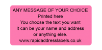 50 x 25mm (2 x 1'') Pink Personalised Printed/Address Labels - Roll of 500 labels