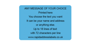 101.6 x 63.5mm (4 x 2½ inch) Blue Personalised Printed/Address Labels - Roll of 500 labels