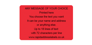 101.6 x 63.5mm (4 x 2½ inch) Red Personalised Printed/Address Labels - Roll of 500 labels