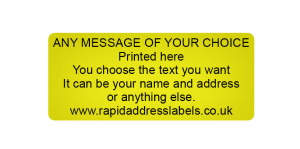 44 x 19mm (1¾ x ¾ inch) Gold Personalised Printed/Address Labels - Roll of 500 labels
