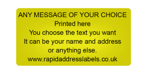 50 x 25mm (2 x 1 inch) Gold Personalised Printed/Address Labels - Roll of 500 labels