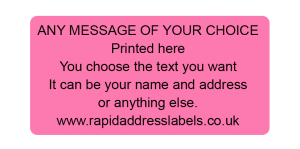 50 x 25mm (2 x 1 inch) Pink Personalised Printed/Address Labels - Roll of 500 labels