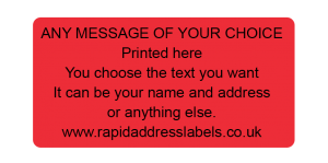 50 x 25mm (2 x 1 inch) Red Personalised Printed/Address Labels - Roll of 500 labels
