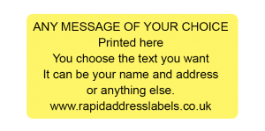 50 x 25mm (2 x 1 inch) Yellow Personalised Printed/Address Labels - Roll of 500 labels