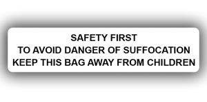 Polythene Bag Safety Warning Labels, 85 x 20mm - Roll of 500