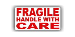 Message Labels - Fragile Handle With Care, 76 x 38mm - Roll of 500