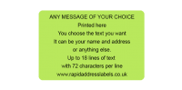 101.6 x 63.5mm (4 x 2½ inch) Green Personalised Printed/Address Labels - Roll of 500 labels