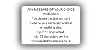 101.6 x 63.5mm (4 x 2½ inch) White Personalised Printed/Address Labels - Roll of 500 labels