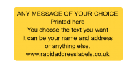 50 x 25mm (2 x 1 inch) Orange Personalised Printed/Address Labels - Roll of 500 labels