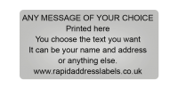50 x 25mm (2 x 1 inch) Silver Personalised Printed/Address Labels - Roll of 500 labels